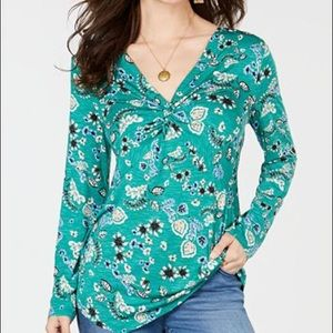 Style & Co V-Neck Twist-Front Floral-Print Top XXL